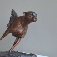 Wild Animals and Wild Life Sculpture by sculptor artist Marie Ackers titled: 'Running Cheetah (Small Bronze Chasing/Hunting sculpture/statue statue)' in Bronze