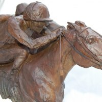 Partial Animal Sculpture Fragment or Part or Incomplete Statues statuettes by sculptor artist Marie Ackers titled: 'The Finishing Line (Horse Racing semi abstract Galloping Horses statue)' in Bronze
