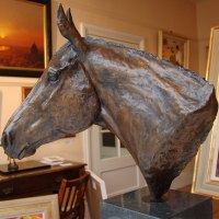 'Thoroughbred Head Study (Horse Head Bust sculpture statue statuette)' by Marie Ackers
