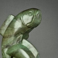 Fresh Water Fish sculpture statue statuettes by sculptor artist Mark Yale Harris titled: 'On the Run (Bronze Fish Swimming Modern statuette)' in Bronze