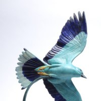 Flamboyant Colourful Exuberant Exotic Gaudy Gorgeous Decorative Vivid Brightly Coloured Spectacular Sculpture by sculptor artist Martin Hayward-Harris titled: 'Jewel in The Crown (European Roller statue)' in Bronze