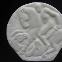 'St. George and Dragon (Carved marble garden statue)' by Michael Hipkins