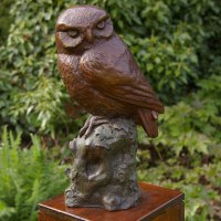 Varietal Mix of Bird Sculpture or Statues by sculptor artist Naomi Bunker titled: 'Little Owl (Bronze Perched on Stump sculptures)' in Bronze