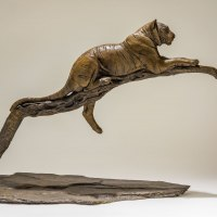 Asian Animals Reptiles Insects or Birds Sculpture or Statues by sculptor artist Nick Mackman titled: 'Raj at Rest (Tiger Resting Drowsing on Branch statue)' in Bronze