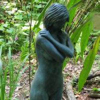 'Blue Girl (Small nude Girl garden/Yard statues)' by Paul Gervis
