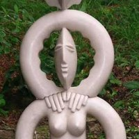 'Mother and Child (Semi abstract Decorative garden sculptures statues)' by Paul Riley