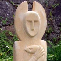 'Druid (abstract stone Half Sized gardenr Yard statue)' by Perryn Butler