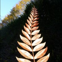 Plant Outdoor Outside Garden or Yard sculpture statue statuette by sculptor artist Peter M Clarke titled: 'Pinnate Leaf Form (Big garden Large Outside statue)' in Mild steel