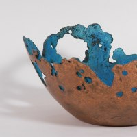 Flamboyant Colourful Exuberant Exotic Gaudy Gorgeous Decorative Vivid Brightly Coloured Spectacular Sculpture by sculptor artist Philip Hearsey titled: 'Ancient Bowl (Turquoise Blue Decorative sculptures)' in Bronze