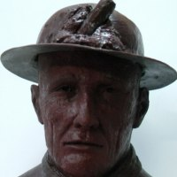 Busts and Heads Sculpture Statues statuettes Commissions Bespoke Custom Portrait Memorial Commemorative sculpture or statue by sculptor artist Richard Austin titled: 'Cornish Miner Bust (Iconic Commemorative sculpture)' in Resin composite
