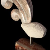 Varietal Mix of Bird Sculpture or Statues by sculptor artist Sandra Borges titled: 'Arraiolos 6 - Galo (abstract stone Feather sculpture)' in Breccia and limestone