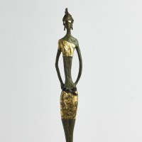 Flamboyant Colourful Exuberant Exotic Gaudy Gorgeous Decorative Vivid Brightly Coloured Spectacular Sculpture by sculptor artist Sara Ingleby-MacKenzie titled: 'Mint Julep (Bronze Jet Set Slim Young Girl figurine)' in Bronze on portland stone base