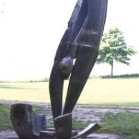 'Splash (life size Steel Diver Outdoor abstract sculpture statue)' by Sarah Tombs