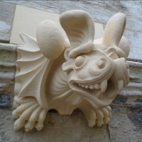 Fun Amusing Comic Animals Birds Fish Statues Sculpture by sculptor artist Thomas J. Nicholls titled: 'Gargoyle Commission stone (Bespoke Custom Grotesque carving)' in Highmoor limestone
