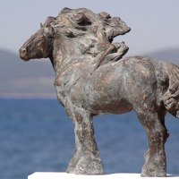 'The Night (Little/Small Bronze Heavy Horse Standing statues/statuette)' by Yanina Antsulevich