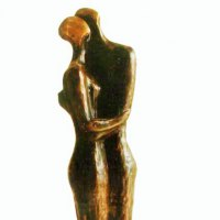 Nude Garden Yard Outdoor Outside Sculpture Statues by sculptor artist Zakir Ahmedov titled: 'Rain (abstract Hugging Embracing nude Couple statues)' in Bronze