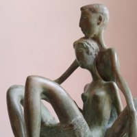 Proud of Pride In Self Confidence sculpture statue statuette by sculptor artist Zakir Ahmedov titled: 'Seated Lovers (Bronze Sitting Young Stylised Lovers statuettes)' in Bronze