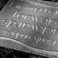 Etched Stone Slate Glass Panel Slab Tile Sheet sculpture by sculptor artist Zoe Singleton titled: 'Forwards and Backwards (Carved garden Motto plaques)' in Slate