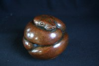 African Animal and Wildlife Sculpture by sculptor artist Adam Binder titled: 'Ball Python (Little Coiled Snake statuettes statues)' in Bronze