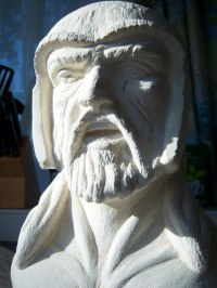 Ancaster Limestone Carved Stone, Marble, Alabaster, Soap Stone Granite Lime stone sculpture by sculptor Anthony Bartyla titled: 'Beowulf from Legend'