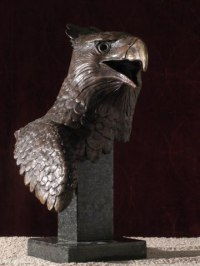 African Animal and Wildlife Sculpture by sculptor artist Brandon Borgelt titled: 'Eagle - Crowned (Bronze Small/Little African Bust statuette/statue)' in Bronze