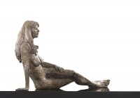 Proud of Pride In Self Confidence sculpture statue statuette by sculptor artist Bruce Denny titled: 'Approachable (Bronze Reclining Lying nude Girl statue sculpture statue)' in Bronze