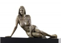 Proud of Pride In Self Confidence sculpture statue statuette by sculptor artist Bruce Denny titled: 'Confidence (Bronze Voluptuous Naked Woman female Lady statue)' in Bronze