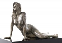Nude Garden Yard Outdoor Outside Sculpture Statues by sculptor artist Bruce Denny titled: 'Equanimity (Calm Assured nude/Naked Woman/female garden sculpture)' in Bronze