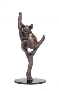 Bronze African Animal and Wildlife sculpture by Camilla Le May titled: 'Bush Baby (Bronze Climbing Tree Branch statuettes)'