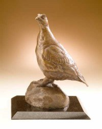 Varietal Mix of Bird Sculpture or Statues by sculptor artist David Cemmick titled: 'Red Grouse (Standing Red Grouse Bronze statuettes)' in Bronze