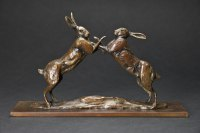 European Animals Birds Reptiles Sculpture Statues statuettes by sculptor artist David Mayer titled: 'Hares Boxing (Mad March Bronze statues/sculptures)' in Bronze
