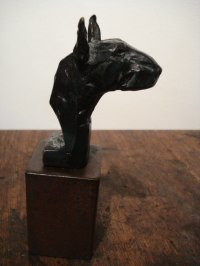BRONZE/MILD STEEL BASE Dogs sculpture by Emma Walker titled: 'Bull Terrier (Bronze Little Head Bust Custom statues)'