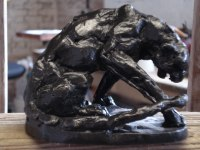 BRONZE Cats Wild and Big Cats sculpture by Emma Walker titled: 'Leopard Crouching (Little Bronze Big Cats statuettes)'