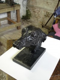 Bronze and Steel base Dogs sculpture by Emma Walker titled: 'Whippet Head (Bronze life size Bust statue sculptures)'