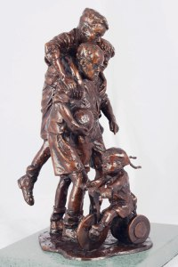 Bronze Children Child Babies Infants Toddlers Kids Sculptures Statues statuettes figurines sculpture by Graham Ibbeson titled: 'Interrupted Celebration (Bronze Children Footballers)'