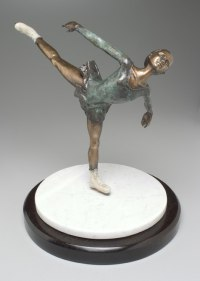 Teenagers Sculpture statuettes Portraits figurines commissions etc by sculptor artist Heidi Hadaway titled: 'Ice Dancer (Little Bronze Girl Skating sculpture, statuette or statue)' in Bronze