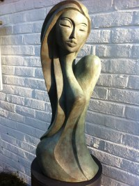 Patina Bronze Resin Arte Deco style Abstract Stylised Contemporary Modern sculpture by Jo Ansell titled: 'Valentina'