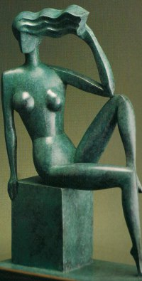 Bronze Arte Deco style Abstract Stylised Contemporary Modern sculpture by John Huggins titled: 'Harmony (life size Bronze nude Girl sitting sculpture)'