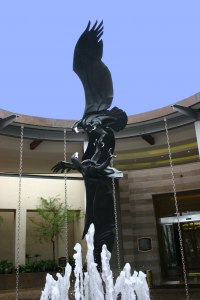 Focal Point Abstract Contemporary Modern sculpture statue sculpture by Keith Calder titled: 'Black Eagles'