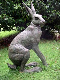 European Animals Birds Reptiles Sculpture Statues statuettes by sculptor artist Lucy Kinsella titled: 'Seated Hare (Large Outsize garden Yard sculptures)' in Bronze resin