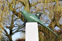 Peace Sculpture or Statues or statuettes by sculptor artist Lynda Hukins titled: 'Harmony (Bronze Stylised Minimalist abstract Contemporary garden statue)' in Bronze