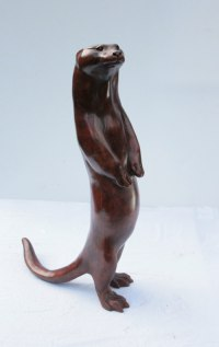 Badger, Otter, Beaver, Weasel, Stoat, Pine Martin, Wombat Sculpture by sculptor artist Martin Hayward-Harris titled: 'Begging Otter (Bronze Erect Standing Indoor Outside statue)' in Bronze