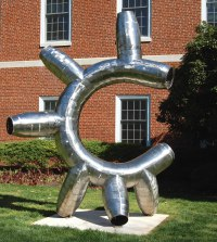Tubular Abstract Contemporary Post Modern Steel or Aluminium / Statues or Sculpture by sculptor artist Mike Hansel titled: 'Intestinal Fortitude (abstract Minimalist Tubular Yard Outdoor statue)' in Stainless steel