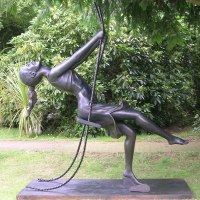 Teenagers Sculpture statuettes Portraits figurines commissions etc by sculptor artist Mitchell House titled: 'Girl on a Swing 1 (3/4 life size Bronze resin garden/Yard statues)' in Bronze resin