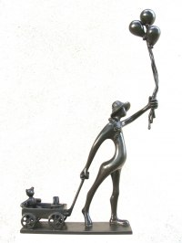 Bronze Children Child Babies Infants Toddlers Kids Sculptures Statues statuettes figurines sculpture by Plamen Dimitrov titled: 'Fair (Happy Child Balloons andToys statuette statue)'