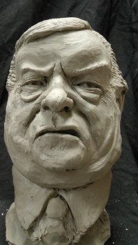 Resin Composite Famous People Sculptures Statues sculpture by Richard Austin titled: 'Bust of John Prescott (Satirical Caricature statue)'
