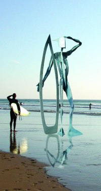 Composite material Abstract Contemporary or Modern Large Public Art sculpture Statues statuary sculpture by Richard Austin titled: 'Warrior of the Surf (Large abstract Surfer statue)'