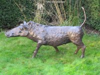 Bronze Focal Point Abstract Contemporary Modern sculpture statue sculpture by Rosie Sturgis titled: 'Wilberforce the Warthog - Bronze'
