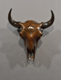 Bronze African Animal and Wildlife sculpture by Simon Gudgeon titled: 'Bison Bronze Trophy (Head/Skull Wall Hanging statue)'