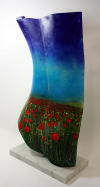 Colourful Polychrome Sculpture Multi-Coloured Statues statuettes statuary by sculptor artist Stephen Beardsell titled: 'female Back Poppy Field (GlassFlower Torso statue)' in Glass